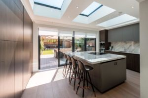 Image of a modern kitchen design in a new kitchen extension area.
